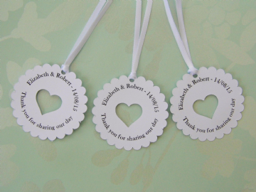 Personalised Round Wedding Favour Tags